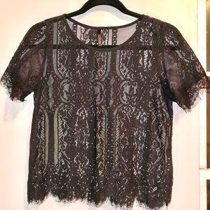 Black full lace top shirt